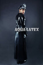 "Man Military ""Epaulette"" Style Long Coat Rubber Latex Long Jacket"