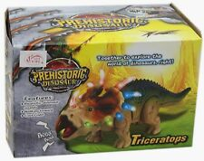 Prehistoric Walking Triceratops Dinosaur Figure Toy With Realistic Sound Light