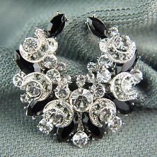14k white Gold GF Swarovski crystals elements black brooch pin