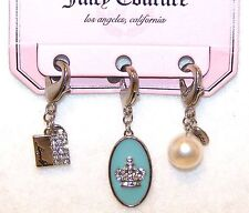 NEW $26 Tag JUICY COUTURE 3 Silver Tone CHARMS Book w/RHINESTONES Crown & PEARL