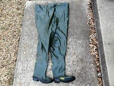 "VINTAGE STEEL SHANK TALL SINGLE PLY RUBBER HIP WADERS BOOTS ""SIZE 9"""