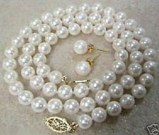 "8MM White South Sea Shell Pearl Necklace Earring Set 18"" LL003"