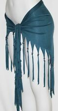TEAL FRINGE Tribal Fusion Belly Dance Dancing Burlesque Gothic Hip Scarf Belt