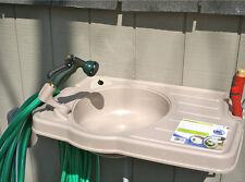 Big Instant Outdoor Wash Sink Garden Hose Reel Plastic Wall Mount Utility Sinks
