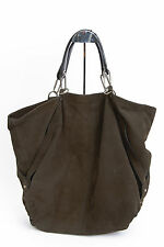 LANVIN Brown Gray Suede Leather Large Tote Shoulder Strap Hobo Hand Bag Purse