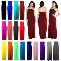New Womens Sheering Boobtube Bandeau Long Jersey Strapless Maxi Dress Plus Sizes