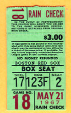 1967 RED SOX TICKET STUB-IMPOSSIBLE DREAM-5/21/67-YAZ 3 HITS/3 RBI'S-INDIANS