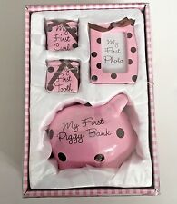 BABY GIRL MY FIRST PIGGY BANK TOOTH Curl Picture GIFT SET Pink Polta Dot Ceramic