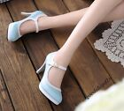 New Sweet Womens Round Toe Ankle Strap Platform High Heel Mary Janes Shoes Size