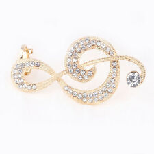 Hot Punk New Crystal MUSIC NOTE Left Ear Cuff Clip Golden Stud Hook Earrings