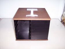 TABLETOP PLASTIC WOODGRAIN SWIVEL 8 TRACK STORAGE RACK  holds 24 tapes    #L