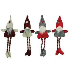"""Set of 4 Plush Red Gray Beige Decorative Gnome Hanging Christmas Ornaments 8"""""""