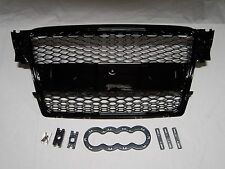 Front Matte Black Grille for Audi A4, 08-09, GR-A4-0809-RS-BK. (Fits Audi)