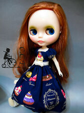 C.C.T Blythe Momoko Pullip Dal doll outfit macaron print long dress (blue) c-522