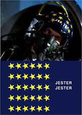 TOP GUN JESTER FLIGHT HELMET MOVIE PROP FIGHTER PILOT DECALS STICKERS STARS