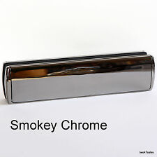 "12"" Deluxe SMOKEY CHROME Door Letterbox Letter Plate Window box upvc silver MID"