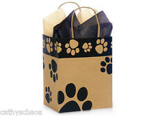Lot 250 Recycled Kraft Paw Print Paper Gift Wrap Bags Cub Size Cat Dog Paws Pets