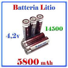 2 Batteria 14500 Stilo AA Ricaricabile Litio 4,2v Torcia Allarme