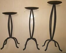 """3 Antique Rod Iron Looking Tall Black Candle Holders. 10"""", 12"""" & 14"""" Vintage"""