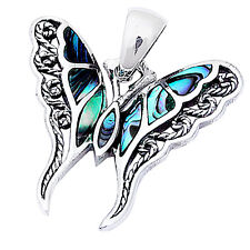 "Abalone Shell Filigree Butterfly .925 Sterling Silver Pendant 1""long"
