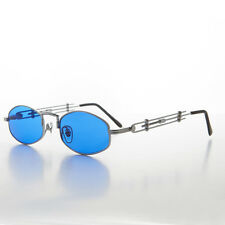 Polygon JPG Inspired Vintage Sunglass Elaborate Temple Design Silver/Blue -DERYN