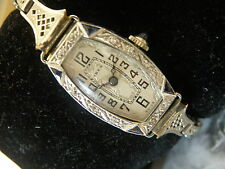 SOLID 18K GOLD & DIAMONDS & SAPPHIRES OH MY.....1920S FLAPPER WATCH...SERVICED