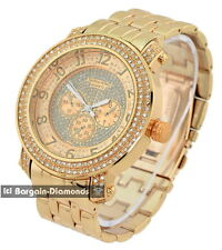 mens big rose gold hip hop clubbing watch link bracelet ice out techno king