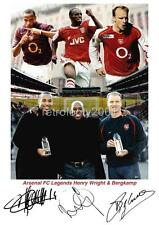 ARSENAL FC IAN WRIGHT DENNIS BERGKAMP THIERRY HENRY SIGNED RE-PRINT A4 PRINT