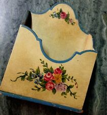 Sweet Antique Floral Tole Painted Letter Box Holder Wall Desk Storage Rack