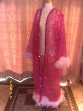 Drag Queen/Cabaret LONG Pink glitter coat with pale pink feathers 16/18