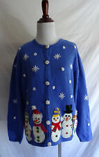 Talbots XL Holiday Winter Snowman Felt Applique Embroidered Christmas Sweater