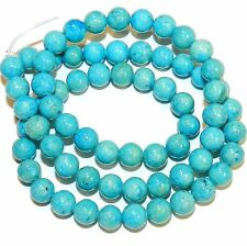 GR541f-2 2-Strand Turquoise Blue 6mm Round Gemstone Coral Fossil Riverstone Bead