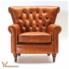 Vintage Real Leather Chesterfield Armchair Wing Chair Club 549
