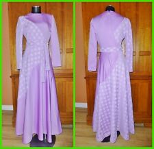 New listing Vtg 70s Lavender Lace Colorblock Boho Wedding Evening Party Maxi belted Dress