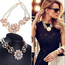 Women Jewelry Crystal Pearl Flower Bib Choker Chunky Statement Collar Necklace