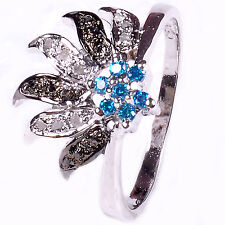 0.51. ct NATURAL REAL RAW DIAMOND .925 STERLING SILVER RING SIZE 8 see video