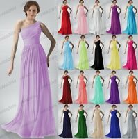 New Bridesmaids Dresses Long One Shoulder Prom Evening Wedding Gowns Size 6-22