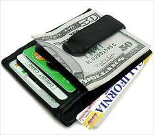 BLACK LEATHER Men's BADGE MONEY CLIP Credit ID Wallet Holder Front Pocket  NWT