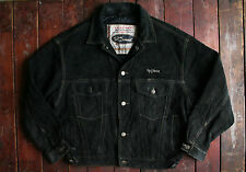 Vtg diesel black cowhide leather heavy daim veste trucker manteau large