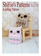 KNITTING PATTERN for OWL CUSHION COVER PYJAMA CASE #239 by ShiFio's Patterns