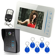 """Touch Key 7"""" LCD Wired Video Door Doorbell Intercom System IR Camera + RFID Keys"""