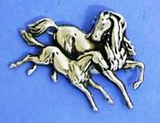 Silver Plated Mare and Foal Brooch - art nouveau style for horse lovers