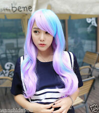hot Long Curly Wavy Full Wig Hair Rainbow Colors Cosplay Anime Party+gift