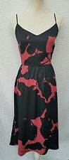 NWT $79 New Size 12 Ann Taylor LOFT Midi Sun Dress Blush & Black Print Mach Wash