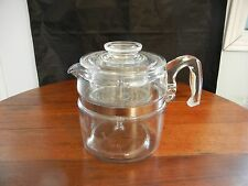 VINTAGE  PYREX 6 CUP GLASS STOVE TOP COFFEE POT  7756 , COMPLETE - EXC.