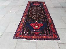Old Traditional Hand Made Persian Oriental Wide Long Runner 380x147cm Blue Wool