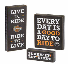 Harley-Davidson® Bar & Shield (Set of 3) Wood Pub Sign Display Signs HDL-15316