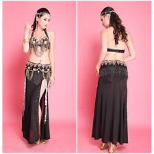 Sexy Professional Belly Dance Costumes Set Bra Top Belt Skirt 2 or 3 Pcs Sets