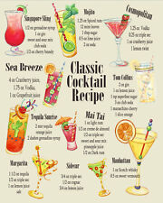 Classic Cocktail Recipes Poster A4