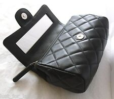 CHANEL Mirror Black Leather Cosmetic Case Classic XS Mini Classic Clutch Bag NIB